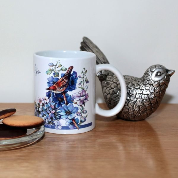 Blue Mug: Birds & Butterflies - Designer Mugs - Talex Interiors