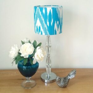 Blue Silk Ikat Lampshade for Bedside Table Lamp - Talex Interiors