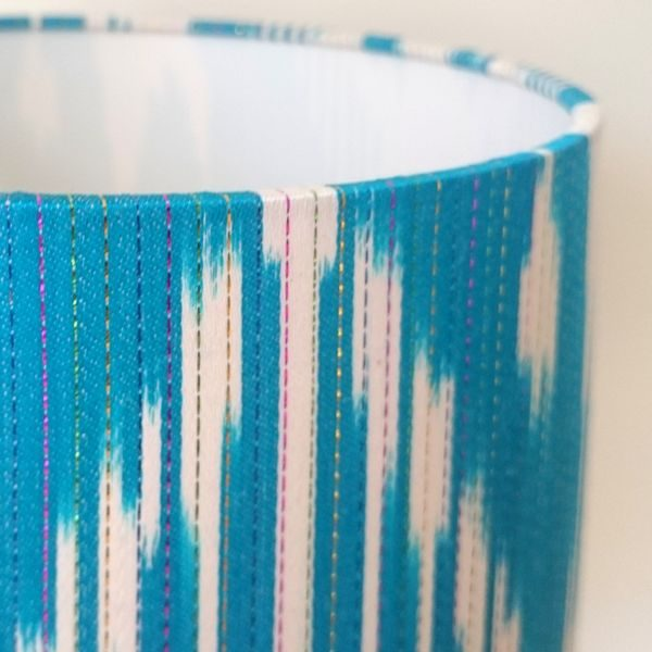 Blue Silk Ikat Lampshade for Bedside Table Lamp - Talex Interiors, UK