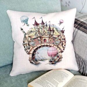 Designer Princess Cushion with Magical Castle - Talex Interiors