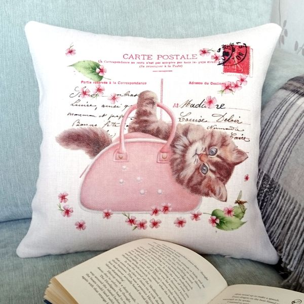 Shabby Chic Cat Cushion - Designer Cushions - Talex Interiors