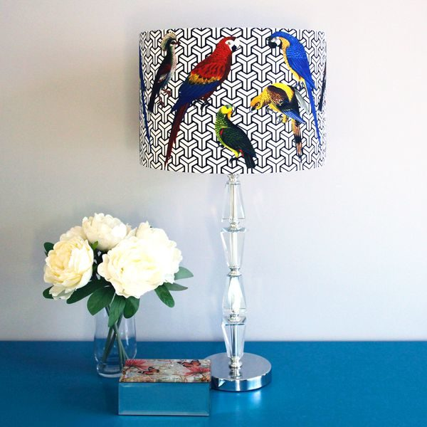 Colourful Lampshade with Tropical Parrots for Pendant/Ceiling Light or Standard/Table Lamp - Talex Interiors, UK