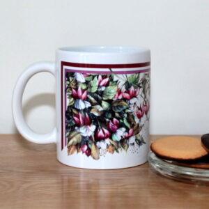 Pink Floral Mug: Fuchsias & Hummingbird - Designer Mugs - Talex Interiors