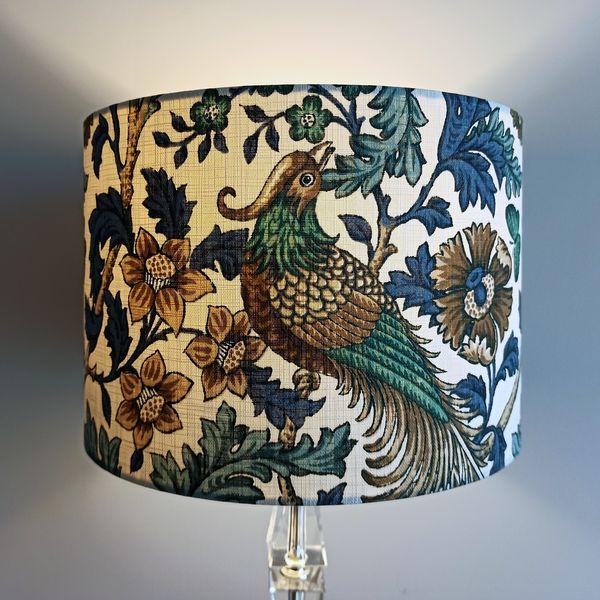 Teal Bird Lamp Shade for Pendant/Ceiling Light or Standard/Table Lamp - Talex Interiors, UK