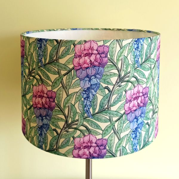 Floral Lampshade with Pink & Blue Wisteria for Pendant/Ceiling Light or Standard/Table Lamp - Talex Interiors, UK