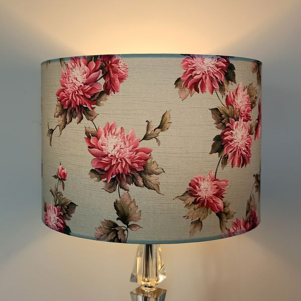 Floral Lamp Shade with Pink Chrysanthemums for Pendant/Ceiling Light or Standard/Table Lamp - Talex Interiors, UK