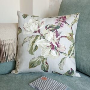 Grey Cushion with Pink Magnolia Flowers - Designer Cushions & Pillows - Talex Interiors, UK