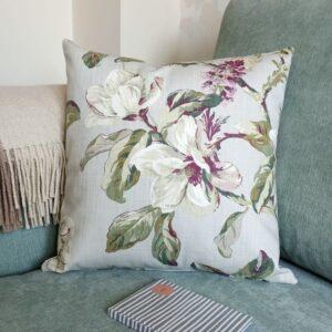 Grey Cushion with Pink Magnolia Flowers - Designer Cushions & Pillows - Talex Interiors, UK