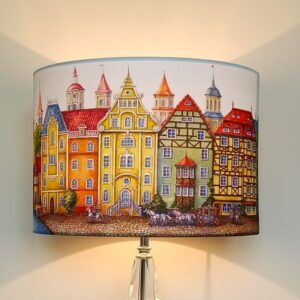 Funky Multi Coloured Lampshade with Fairytale Houses for Pendant/Ceiling Light or Standard/Table Lamp - Talex Interiors, UK