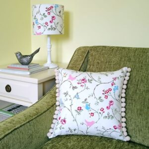 Pink Cushion with Birds & Butterflies - Designer Cushions & Pillows - Talex Interiors, UK
