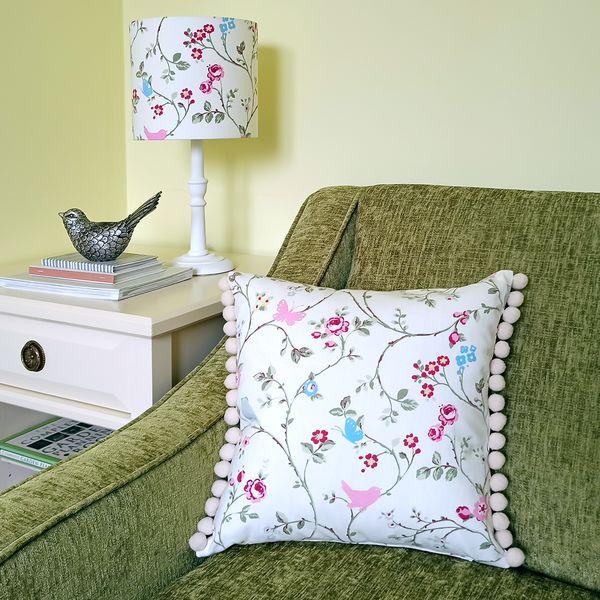 Pink Cushion with Birds & Butterflies - Designer Cushions & Pillows - Talex Interiors, UK