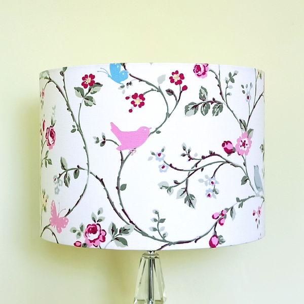 Pink Lampshade with Birds & Butterflies (SKU: LS-005) - Talex Interiors, UK
