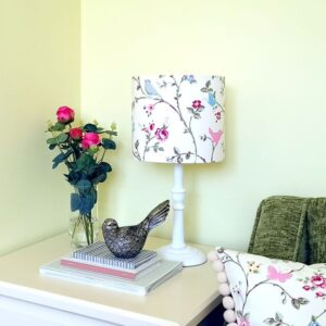 Pink Lampshade with Birds & Butterflies for table lamp base (dia 20cm) - Talex Interiors, UK