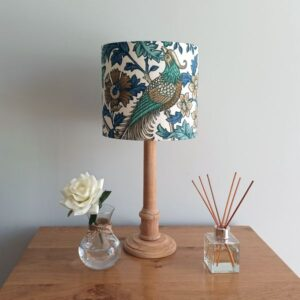 Teal Bird Lamp Shade for table lamp base (dia 20cm) - Talex Interiors, UK